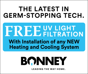 Free UV Light Filtration with a new HVAC installation from Bonney - August promotion